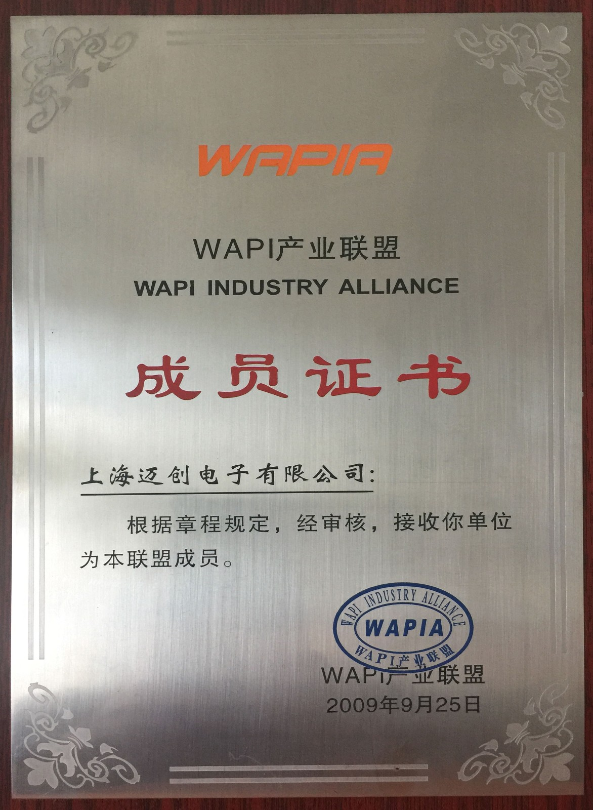 WAPI产业联盟成员奖牌